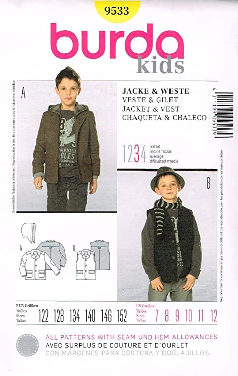 916723e054e7a Image Unavailable. Image not available for. Color  Burda Kids Jacket   Vest  Sewing Pattern ...