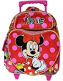 Small Size Red and Pink Minnie Mouse Hugs Rolling Backpack