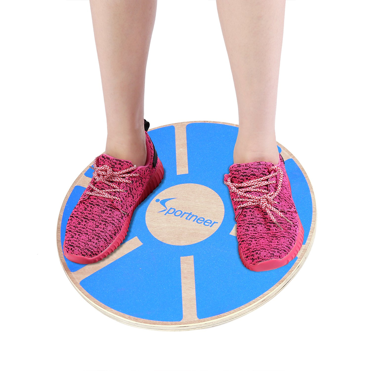 Sportneer Wooden Balance Board for Exercise, Gym, Sport Performance Enhancement, Rehab, Training, Blue