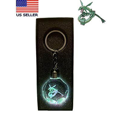 Crystal Planet 3D LED Crystal Keychain & Gift Box (Rayquaza): Home & Kitchen