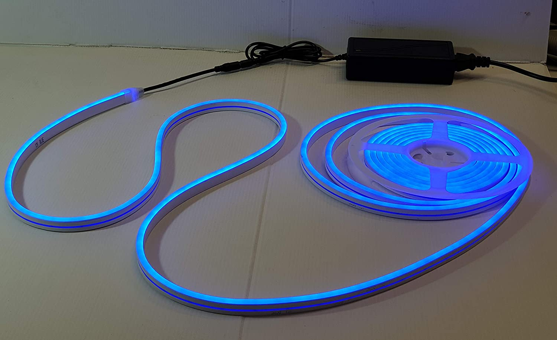 LED NEON STRIP LIGHT FLESSIBILE IP 65 IMPERMEABILE 12V BOBINA 5 MT.+ALIMENTATORE BIANCO CALDO
