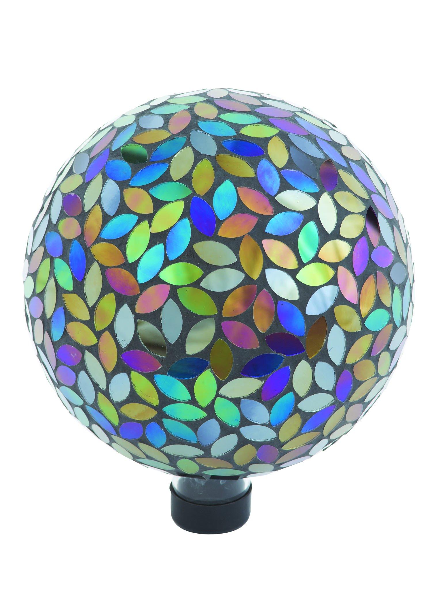 Russco III GD137159 Glass Gazing Ball, 10'', Mosaic Peacock
