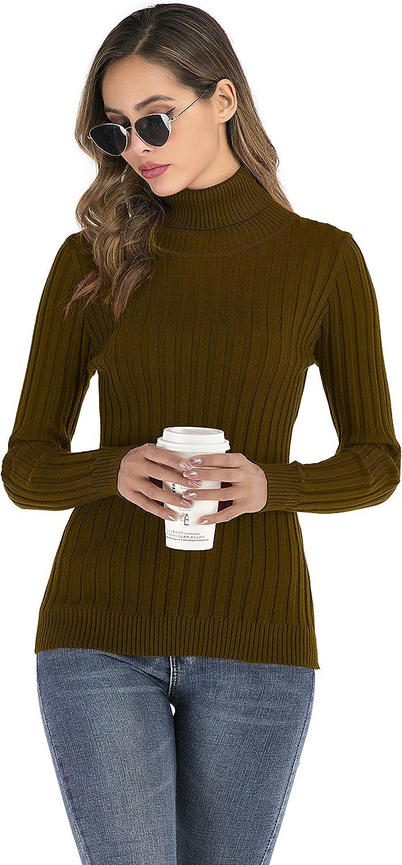 Womens Ruffled Turtleneck Knitted Sweater Tops Ladies Plain Jumper Winter Warm