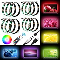 LED TV Backlight Bias Lighting Kits for HDTV Remote Control, USB Powered RGB Multi Color Led Light Strip Home Theater Accent Lighting Kits 4 Strips in 1 Set, 7 Colors