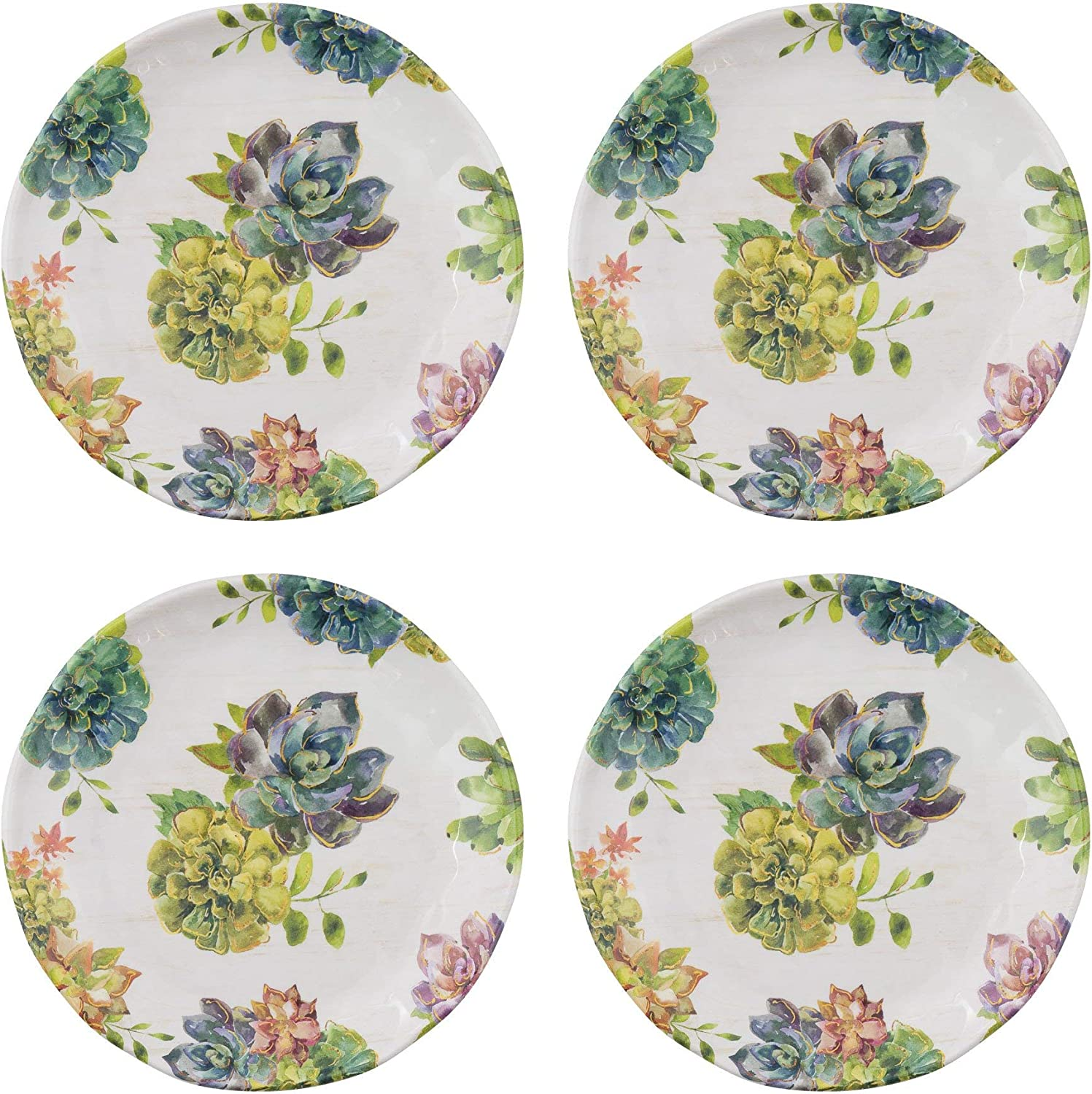 Gourmet Art 4-Piece Succulents Heavyweight and Durable Melamine 6 Inch Plate for Indoors Outdoors Use, Party, Wedding and Everyday Use.