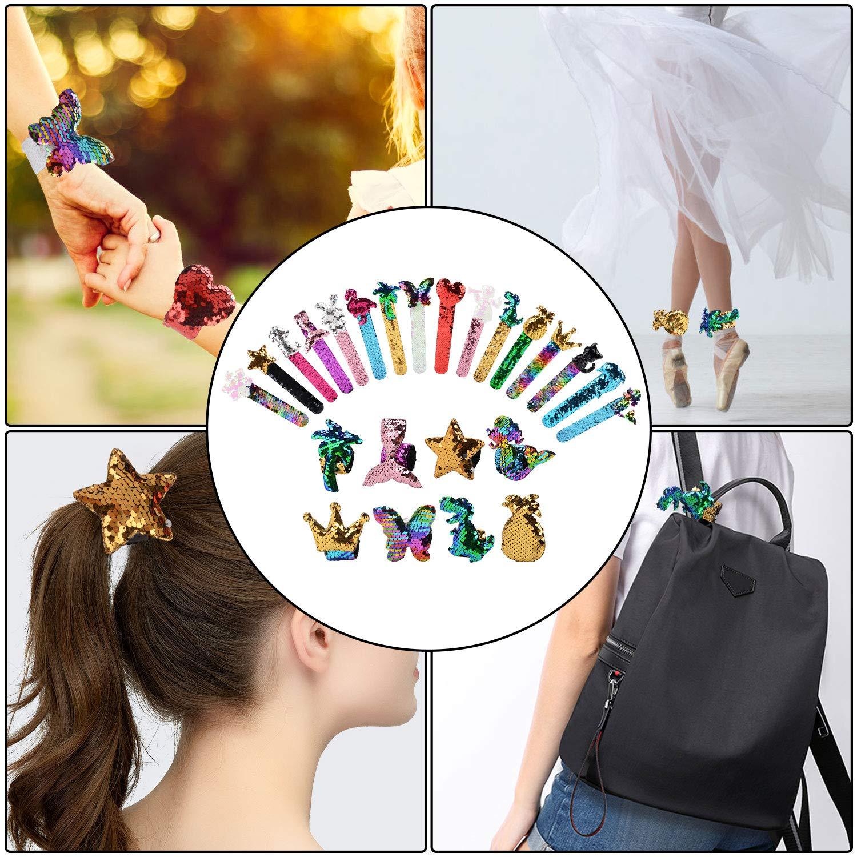 Mermaid Slap Bracelets,Kapmore 16 Pcs Mermaid Sequin Snap Bracelets Set 2 Color Magic Glitter Reversible Charm Sequins Flip Wristband Party Favor Slap Bracelets for Girls Boys