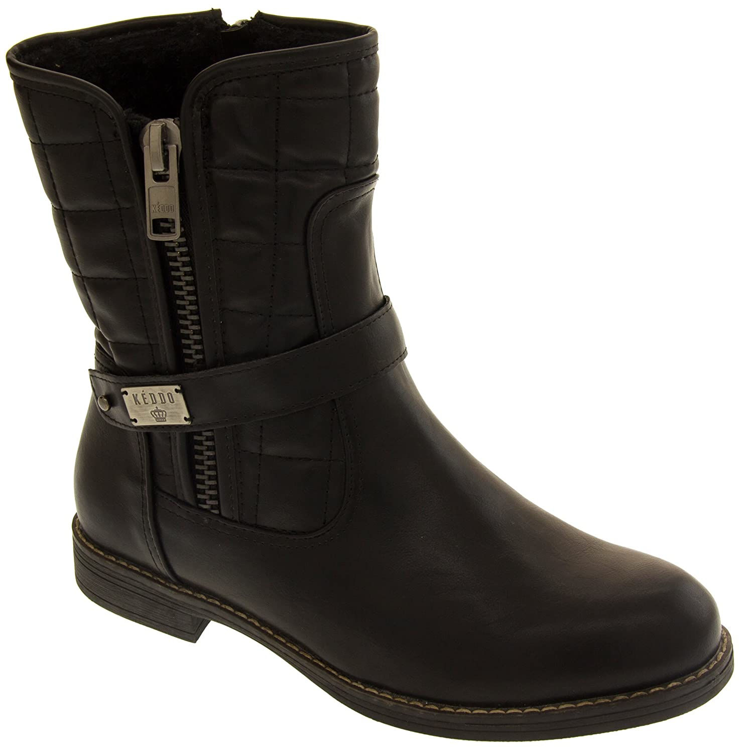 Amazon.com | Keddo Black - Decorative Zip & Real Wool Lining Faux Leather  Warm Lined Winter Boots US 5 | Mid-Calf