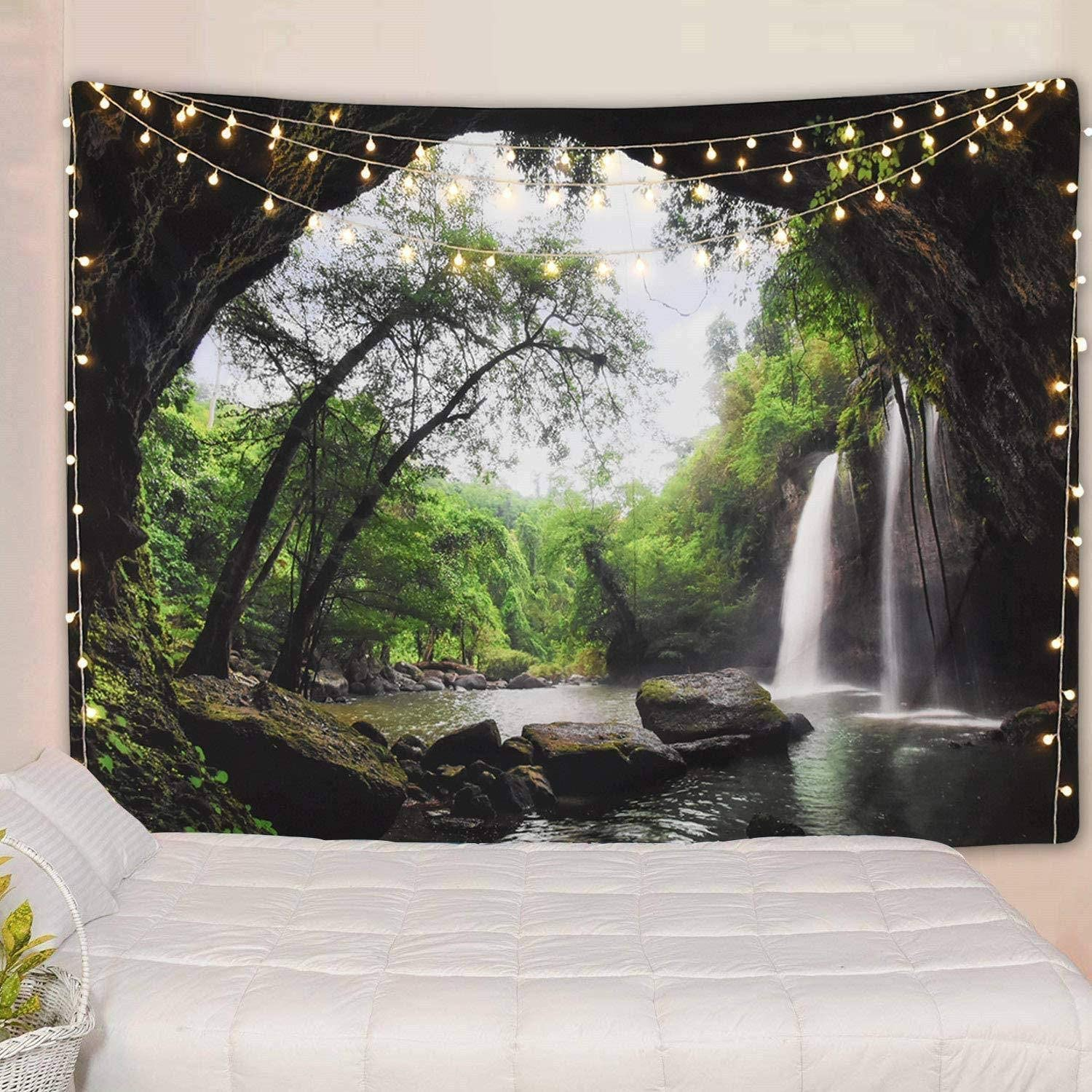 Heart Horse Mountain Cave Tapestry,Forest Tree Waterfall Nature Landscape Green Jungle Tapestries Large Tropical 3D Wall Hanging for Bedroom Living Room Dorm Decor