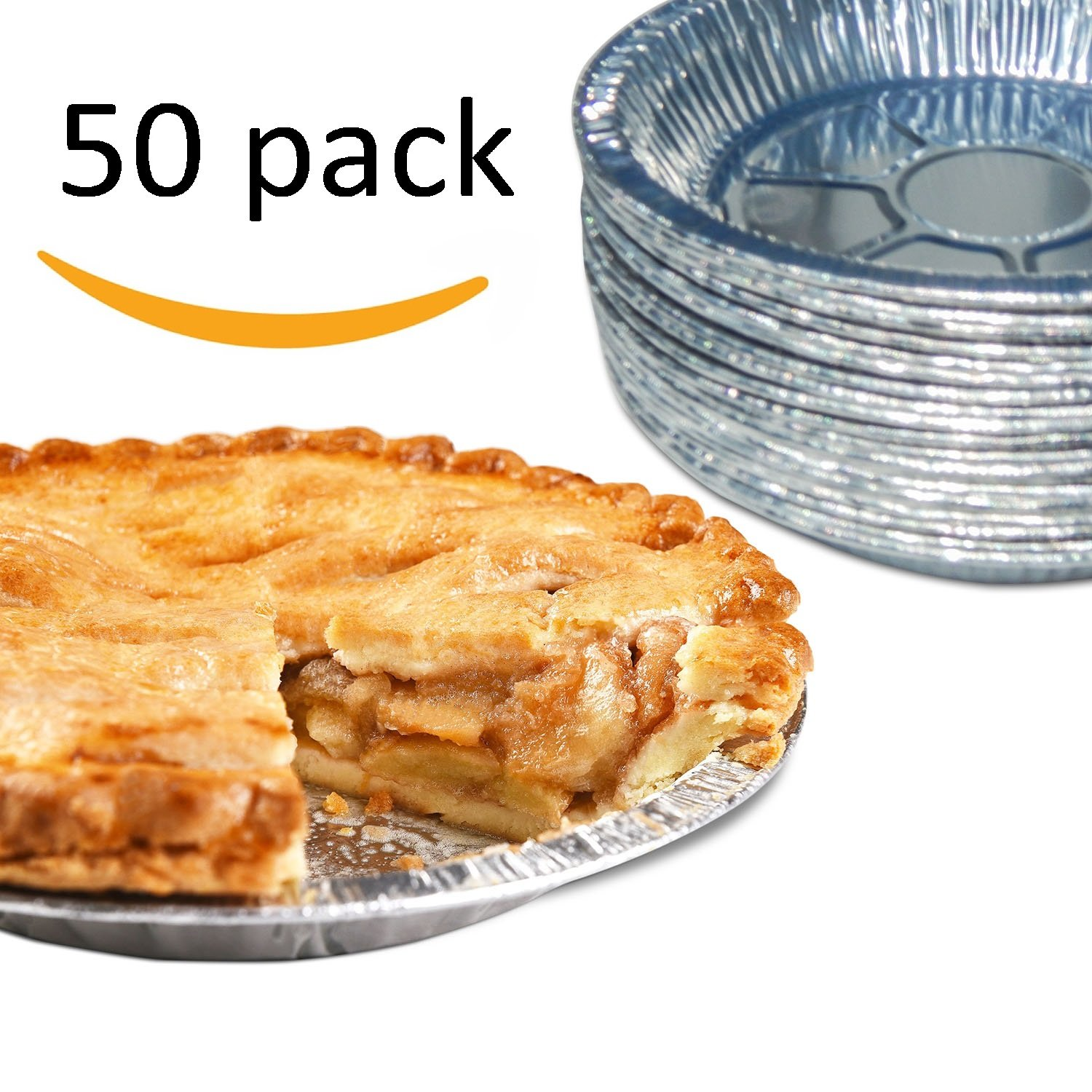 Premium 9'' Aluminum Foil Pie Pans. Disposable Tin Plates for Pies Tart Quiche. (Pack of 50) by Gypsy's Cart (Image #1)