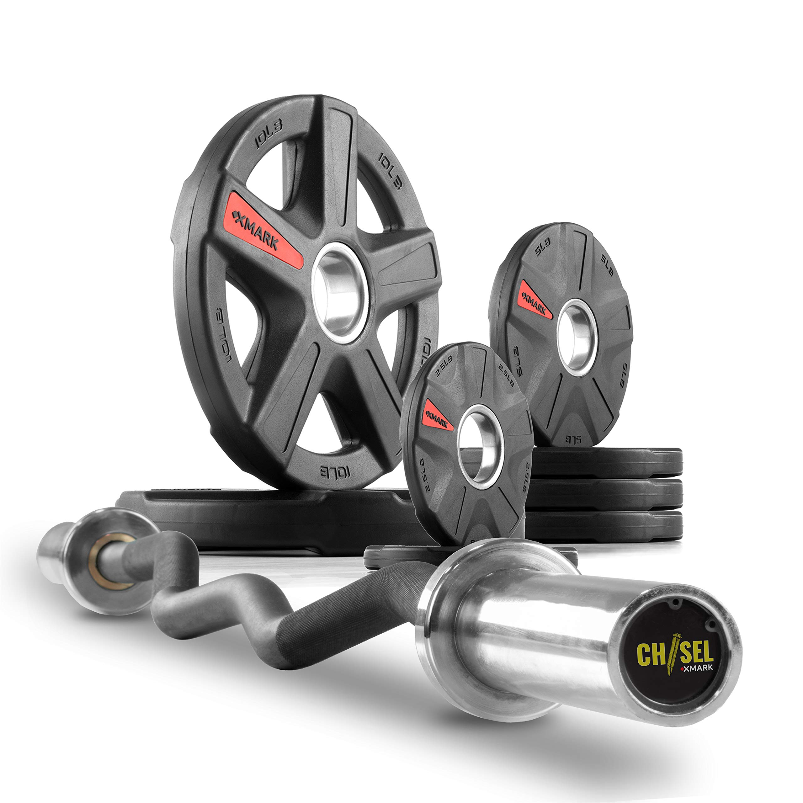 XMark Chisel Olympic Curl Bar with Texas Star 45 lb. Olympic Plate Weight Set, Notable Quality, Impressive Design, and Impeccable Craftsmanship by XMark Fitness