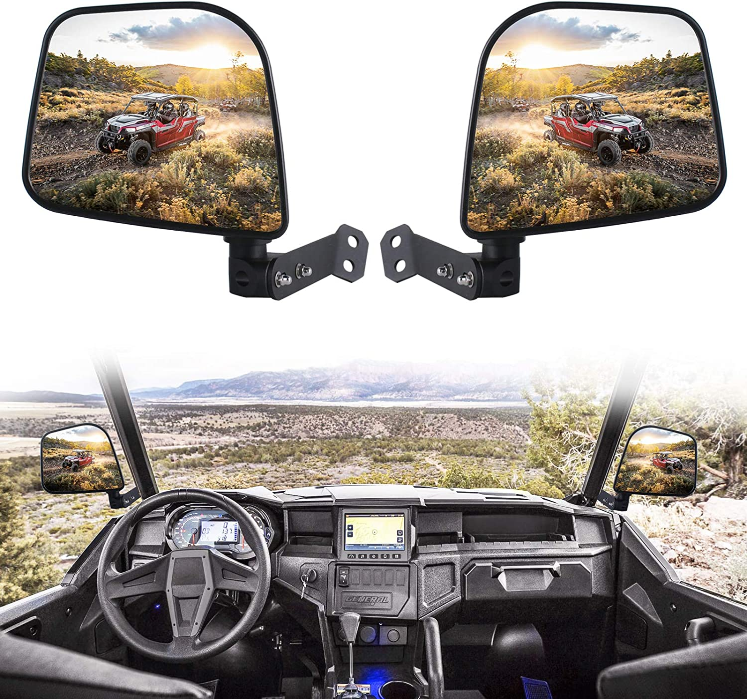 Xislet Rear Side View Mirrors Compatible with 2016-2020 Polaris General 1000 EPS 4 XP Pro-Fit Cage Folding Mirrors Factory Mounts