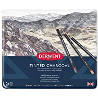 Derwent Tınted Charcoal Renkli Füzen Kalem - 24 Renk Metal Kutulu