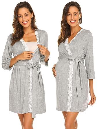 62b12fd315 Ekouaer Short Robes Women s Long Sleeve V-Neck Nighties Lace Trim Belt  Sleepwear Bathrobe