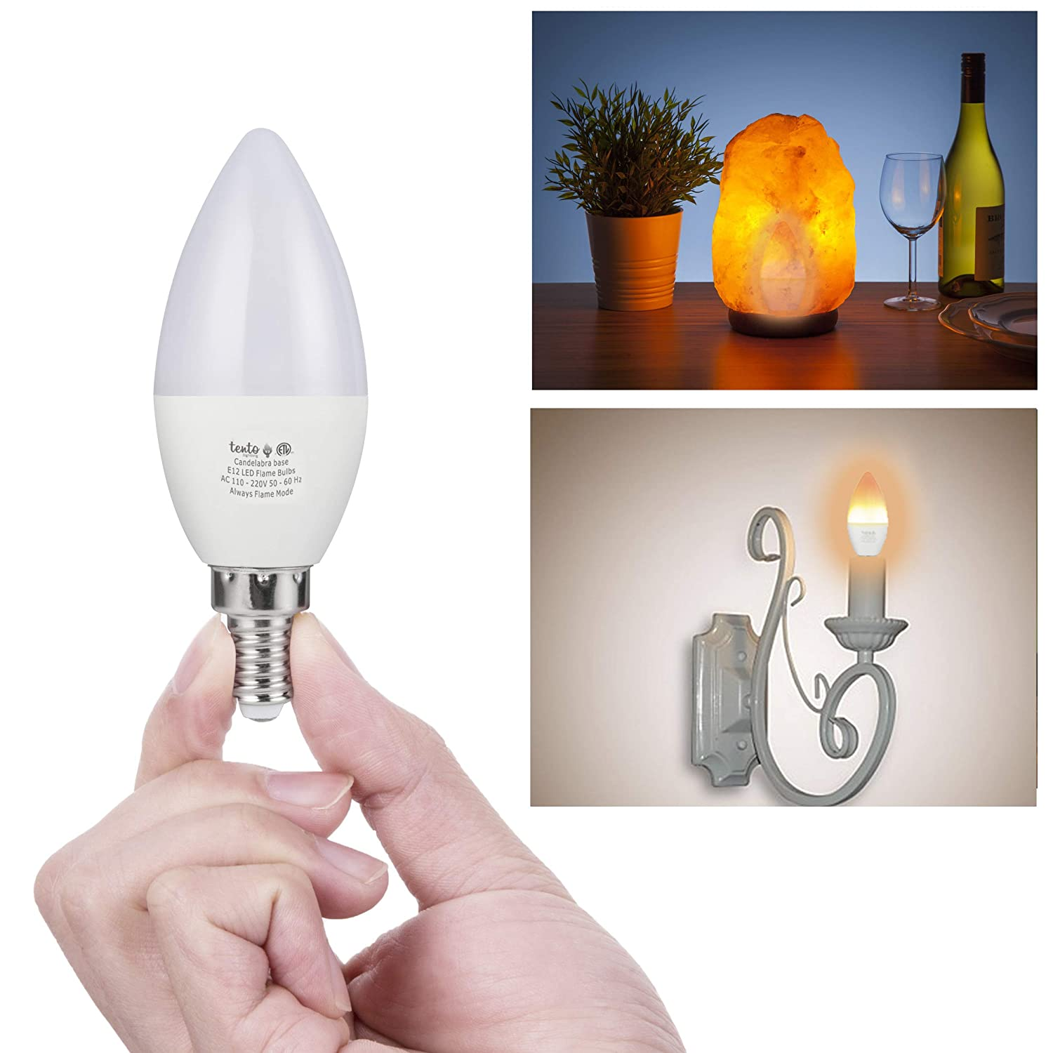 Tento LED Flame Bulb Candelabra Base 3 Pack E12 Fire Effect Flickering Lights 1.5 Watts 1800k Pack of 2 Decorative Lightbulbs for Halloween Christmas Lighting Tabletop Porch E12 Light Fixtures