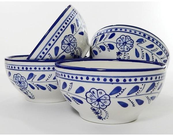 Set of 4 Le Souk Ceramique Azoura Design Stoneware Soup/Cereal Bowls (Tunisia) - 19439590 - Overstock.com Shopping - Great Deals on Le Souk Ceramique Dinnerware