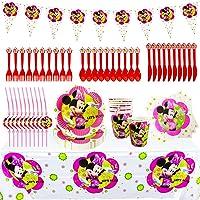 Set de Fiesta de Cumpleaños de Minnie, Cumpleaños Vajilla Set de Fiesta Kids Birthday Mickey, Plato, Servilleta de Papel…