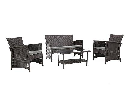 c36f82a54187 Baner Garden N82-CH 4 Piece Outdoor Furniture Complete Patio Wicker Rattan  Garden Conversation Set
