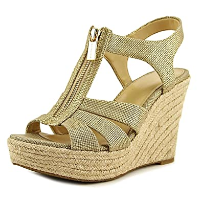 a4f60ea89dfb Michael Kors Berkley Pale Gold Leather Wedge Sandals 41 Gold Fabric ...