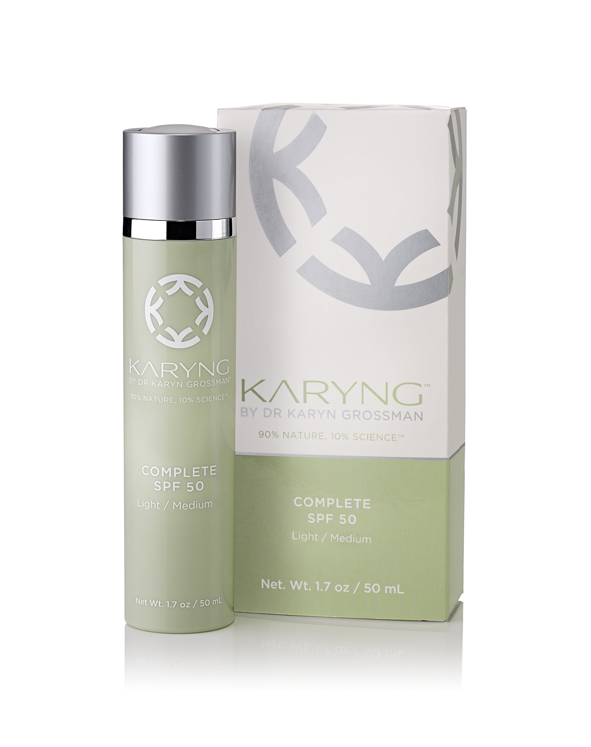 SPF50 Facial & Skin Moisturizer and Makeup Primer by KARYNG - Complete Broad Spectrum with Echinacea, Coconut Oil, and Pro-Verte Complex - Tinted Daily Face Lotion (Light/Medium) - 1.7oz