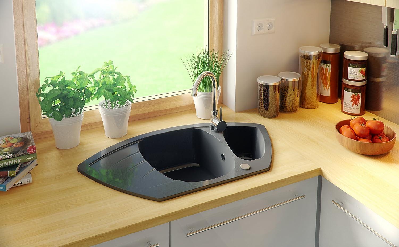 1.5 bac /Évier granit Primagran /évier de cuisine avec siphon automatique Noir