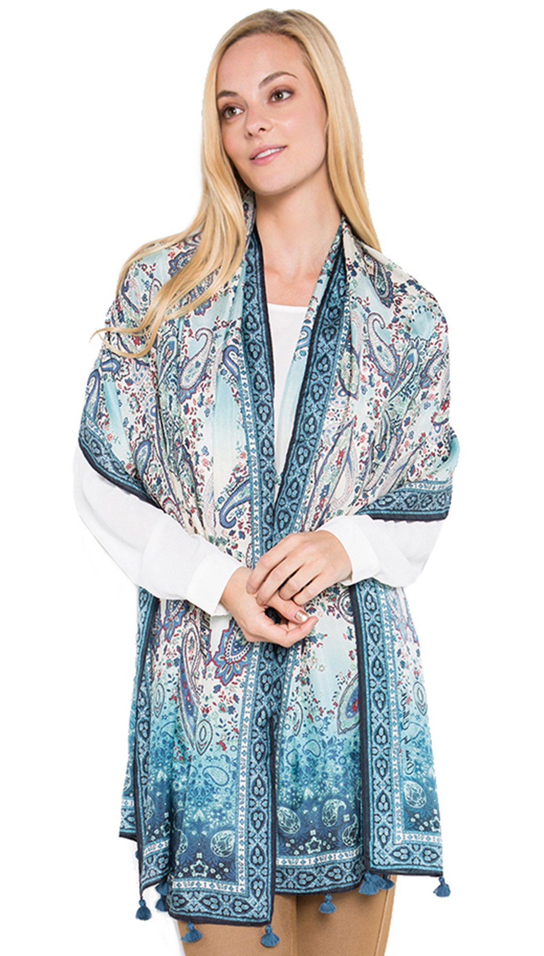 Fine Silk Scarf for Women-Luxury Fashion Print Extra Long Lightweight Wrap Shawl Headscarf by d'IRIS (Image #2)