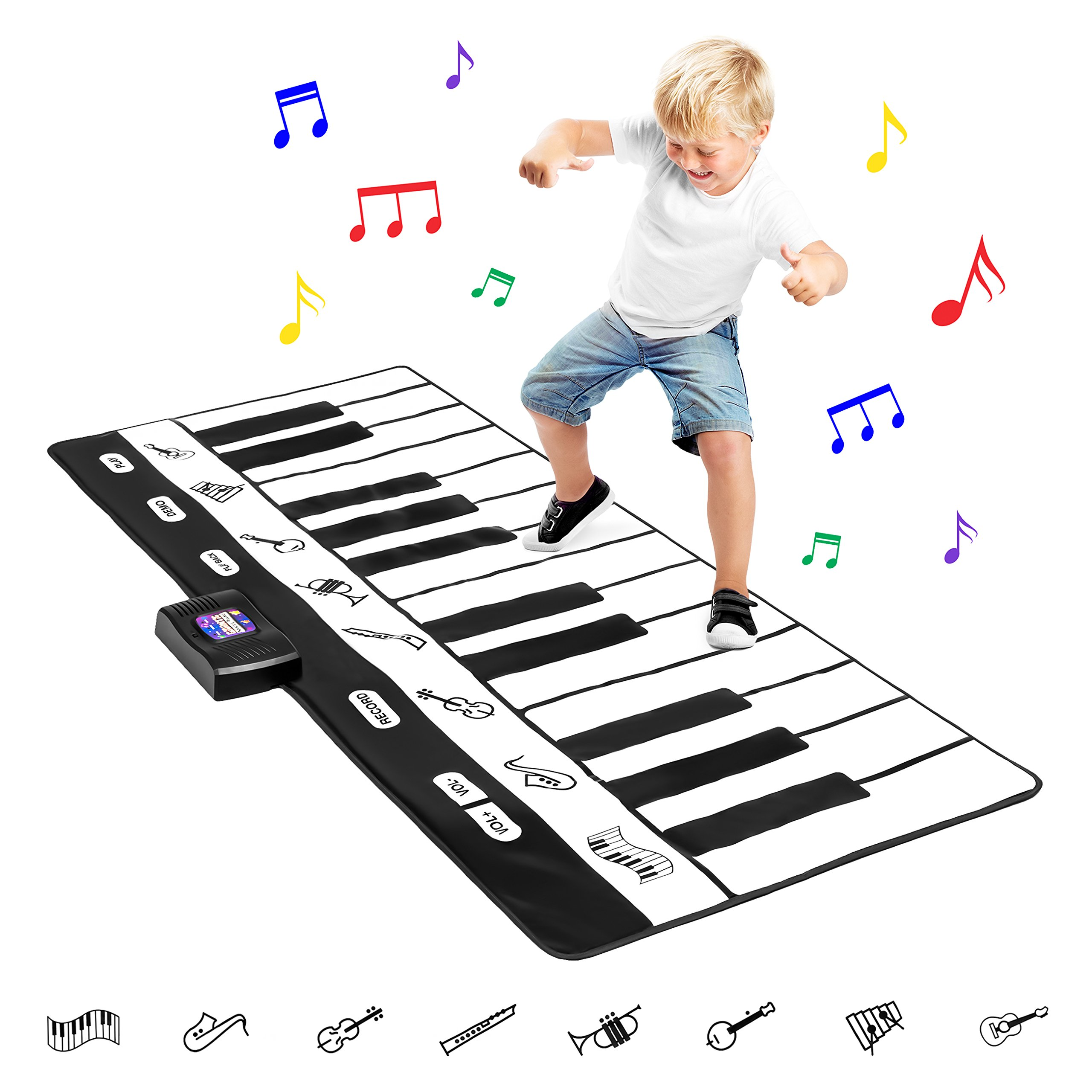 Best Choice Products 71in Giant Heavy-Duty Vinyl 24-Key Piano Keyboard Music Playmat w/ 8 Instrument Settings, Easy Touch Buttons, Record, Playback - Black/White