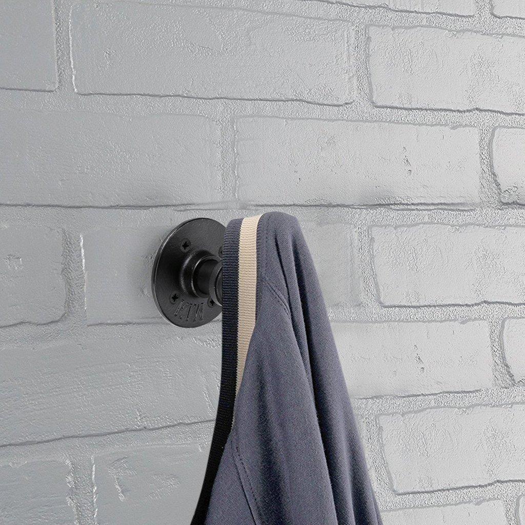 BTSKY 2 Pcs Percheros Ganchos Curvos en Forma de Tubo de Hierro Industrial Estilo Retro Fijado en Pared Práctico para Colgar Abrigos Sombreros ...