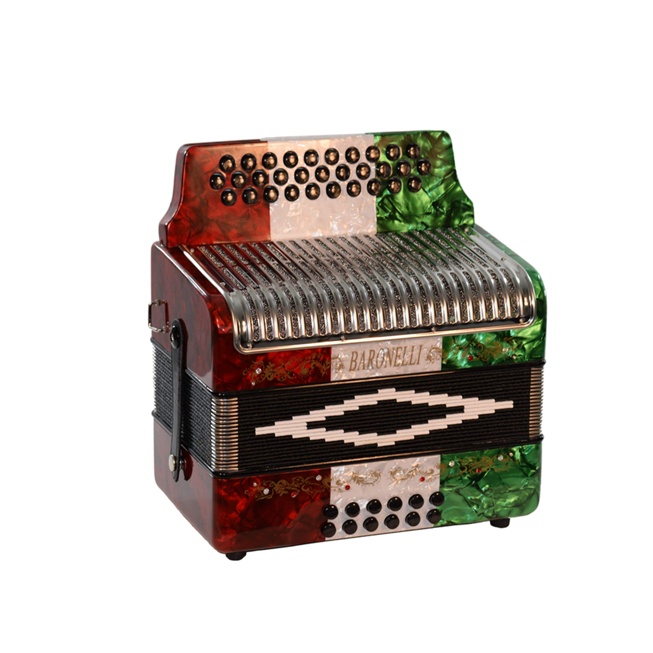 Baronelli 31 Button 12 Bass Accordion GCF Stainless Steel Grill, Red/White/Green by Baronelli