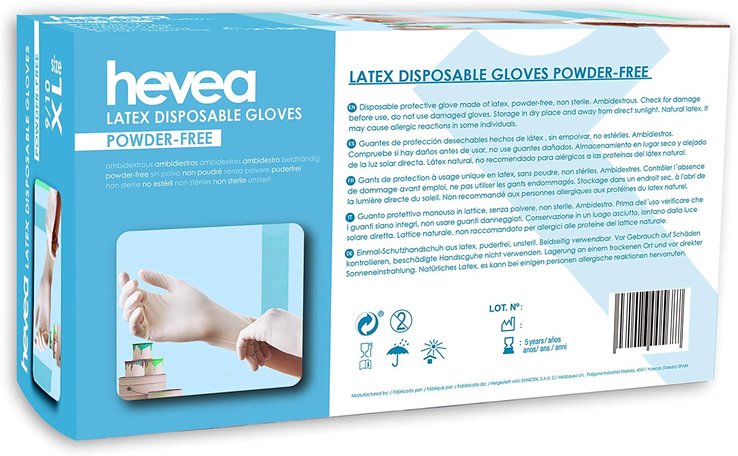 1 X 100 Disposable Latex Gloves Size L