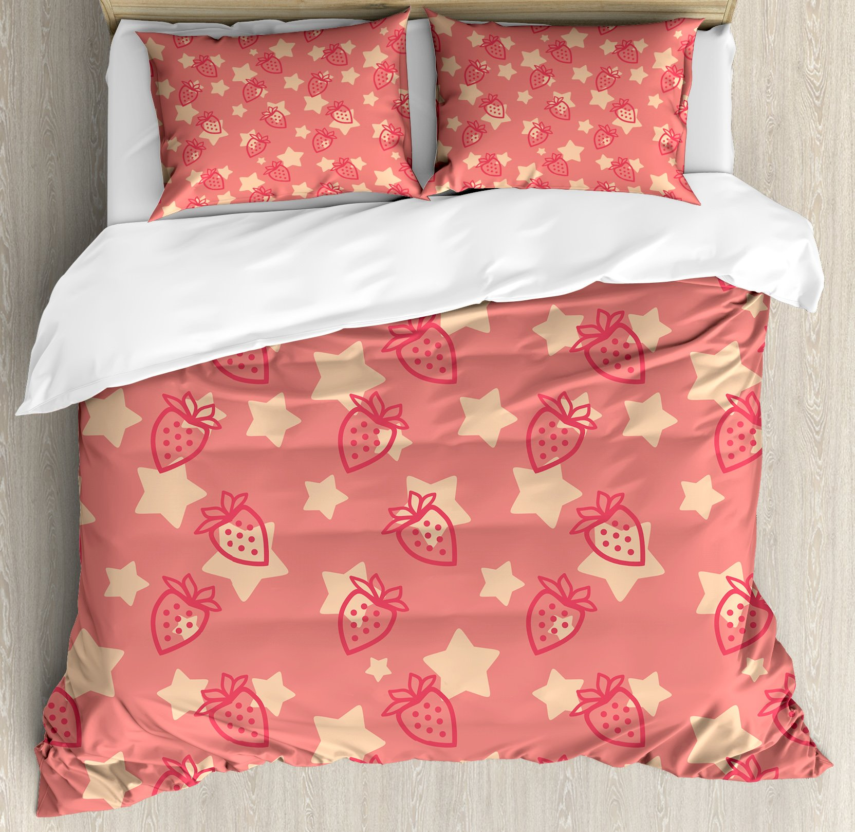Fruits Queen Size Duvet Cover Set by Ambesonne, Cute Strawberries over Star Figures Organic Health Eating Tasty Artsy Design, Decorative 3 Piece Bedding Set with 2 Pillow Shams, Dark Coral Peach by Ambesonne (Image #1)