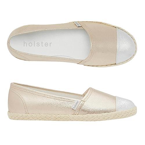 Holster - Alpargatas de Lona para Mujer Dorado Dorado: Amazon.es: Zapatos y complementos