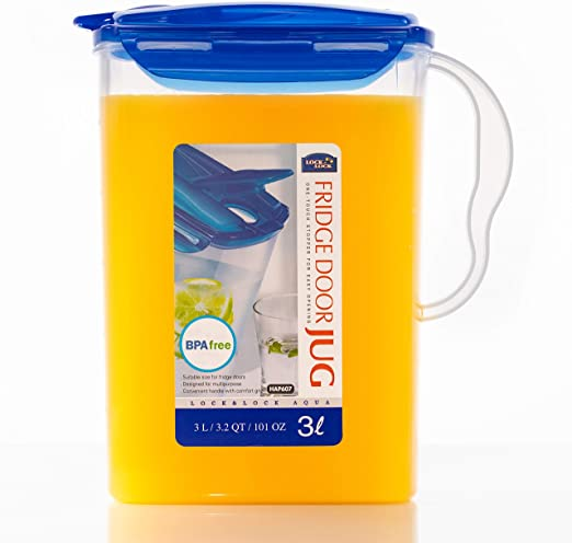 LOCK & LOCK Aqua Fridge Door Water Jug with Handle BPA Free Plastic Pitcher with Flip Top Lid Perfect for Making Teas and Juices, 3 liters, Blue