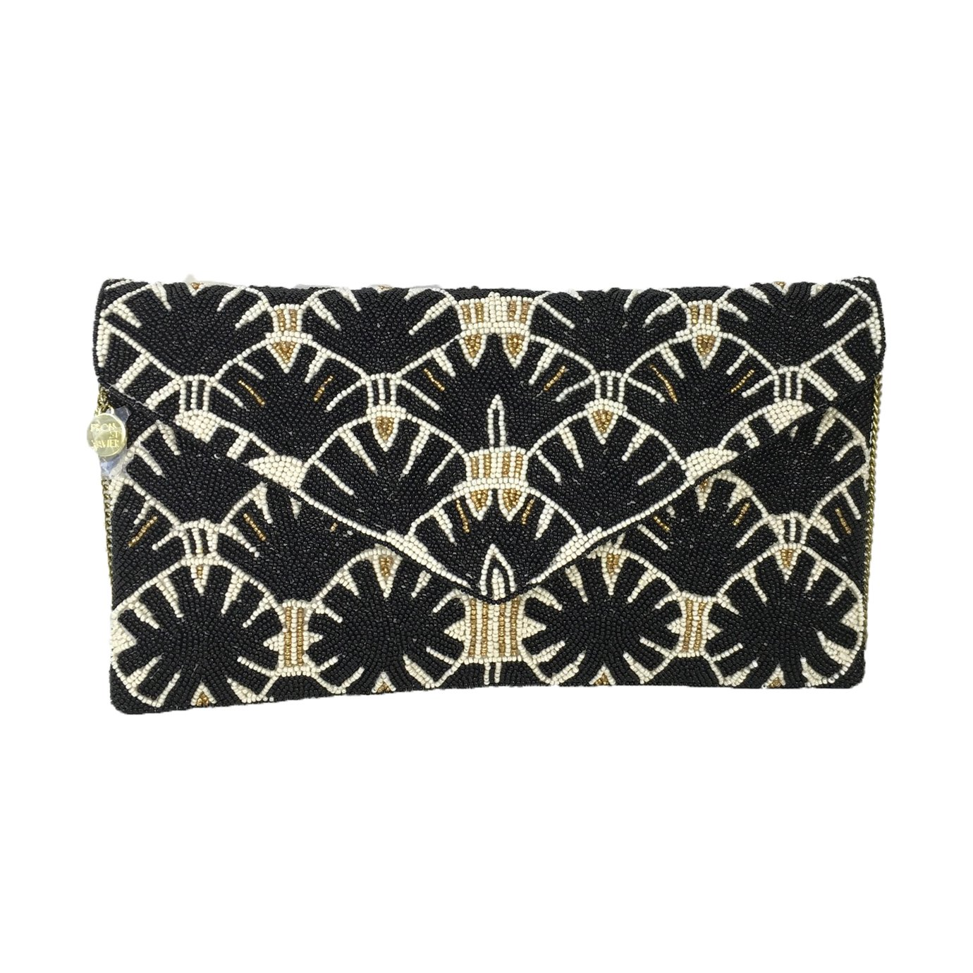 From St Xavier Whittaker Beaded Convertible Clutch, Black/Cream