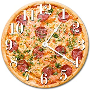 Sugar Vine Art Pizza Food Kitchen Silent Non Ticking Round Battery Operated Handmade Hanging Large10.5 Inch Wall Clock for Bedroom Office Cottage Decoration