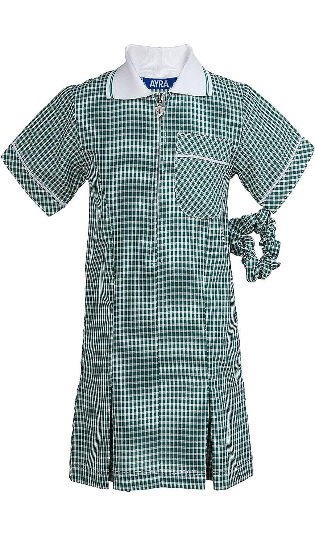 Ayra Girls School Uniform Pleated Gingham Summer Dress with Hair Bobble Scrunchie