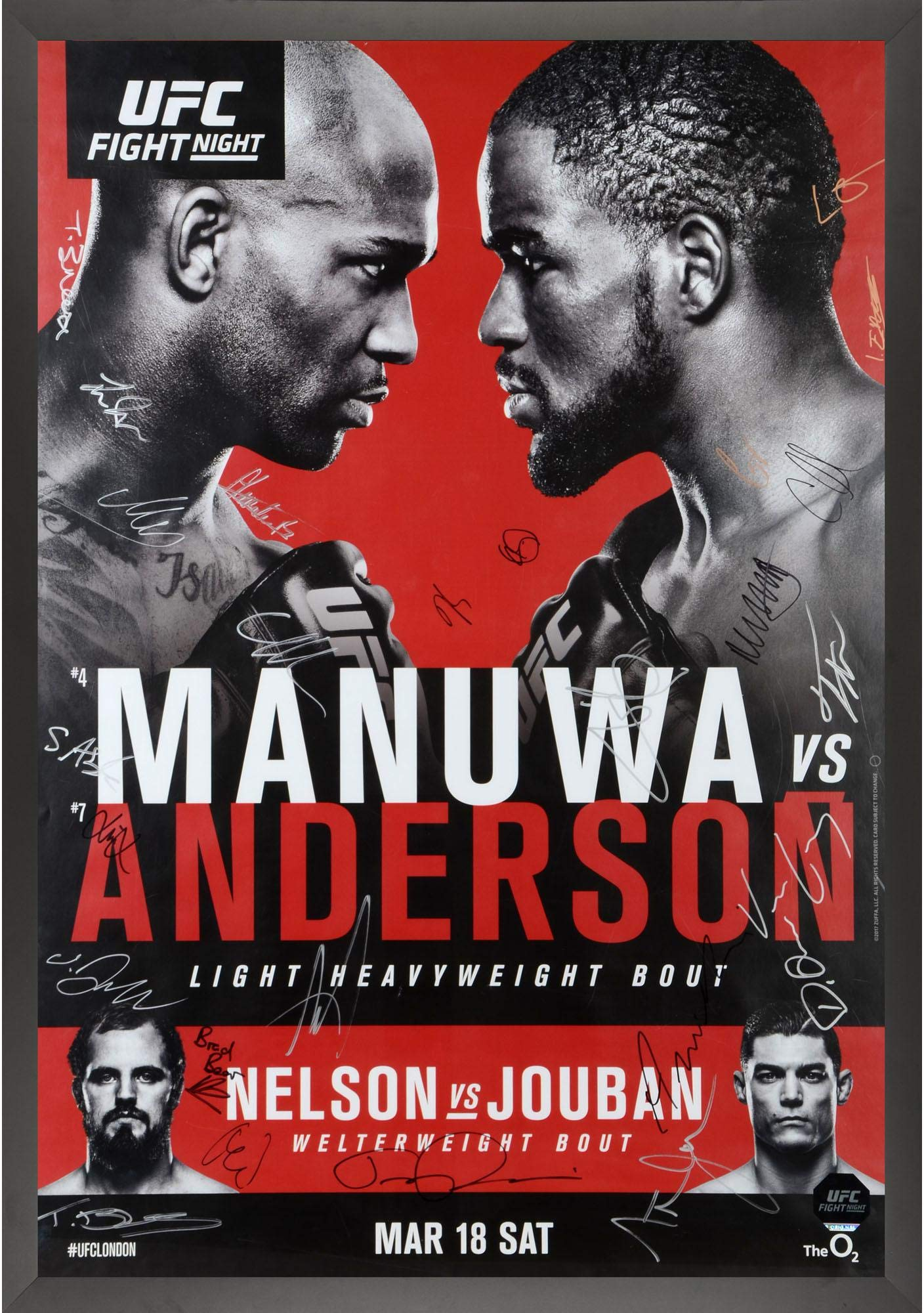 "UFC Fight Night 107 Manuwa vs. Anderson Framed Autographed 27"" x 39"" 22 Signature Fight Poster Fanatics Authentic Certified"