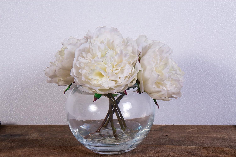 Artficial White Peonies Set In A Jam Jar Bowl Amazon Kitchen