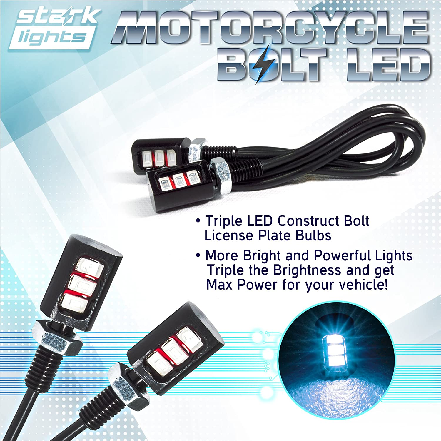 Triple Row SMD High Power License Plate LED Light UNV inc Motorcycle License LED Bolt Screw