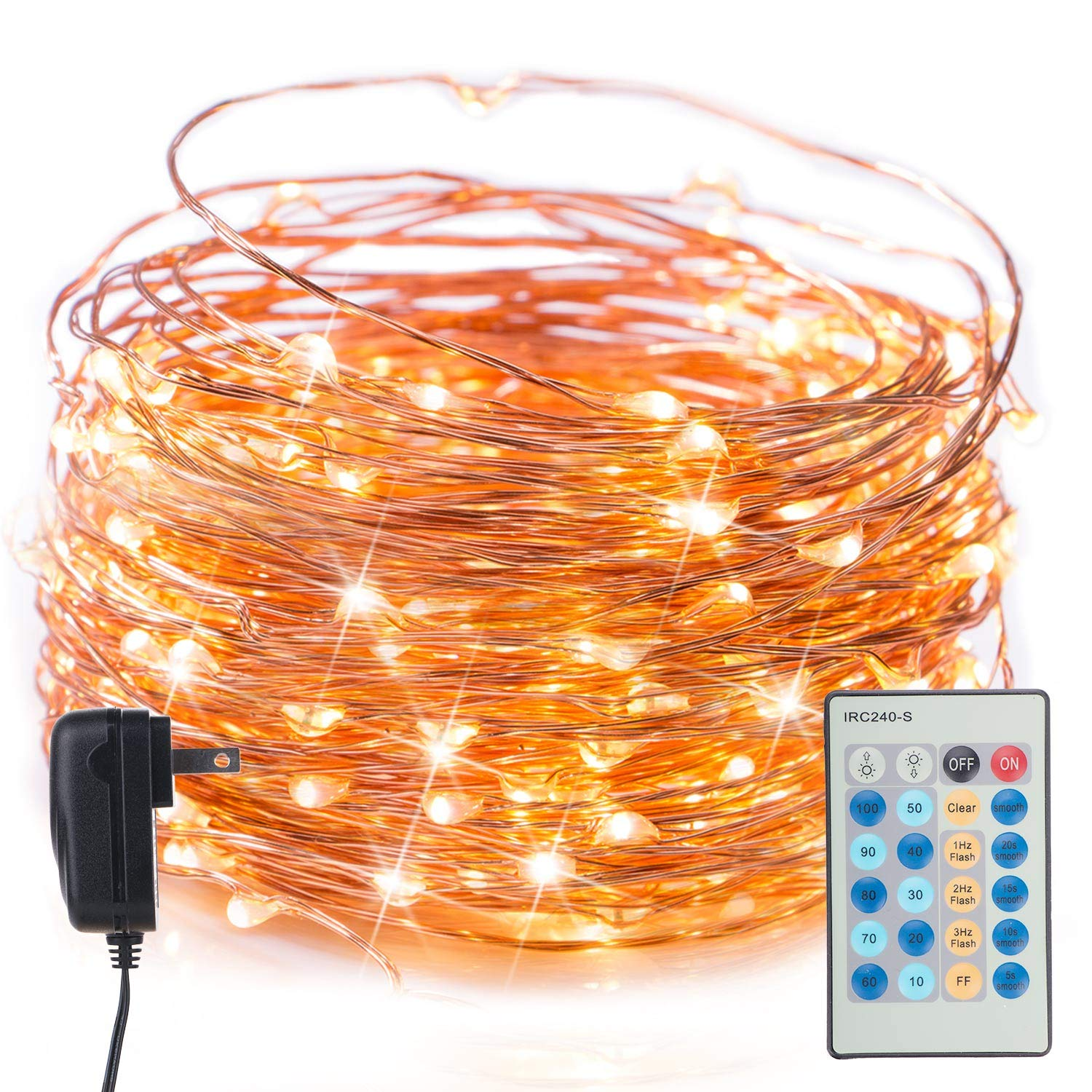 40Ft 120 LED Fairy Lights Dimmable Waterproof Twinkle Starry Firefly String Lights with Remote Plug in on a Flexible Copper Wire for Christmas Party DIY Wedding Bedroom Indoor Party Decorations, Warm