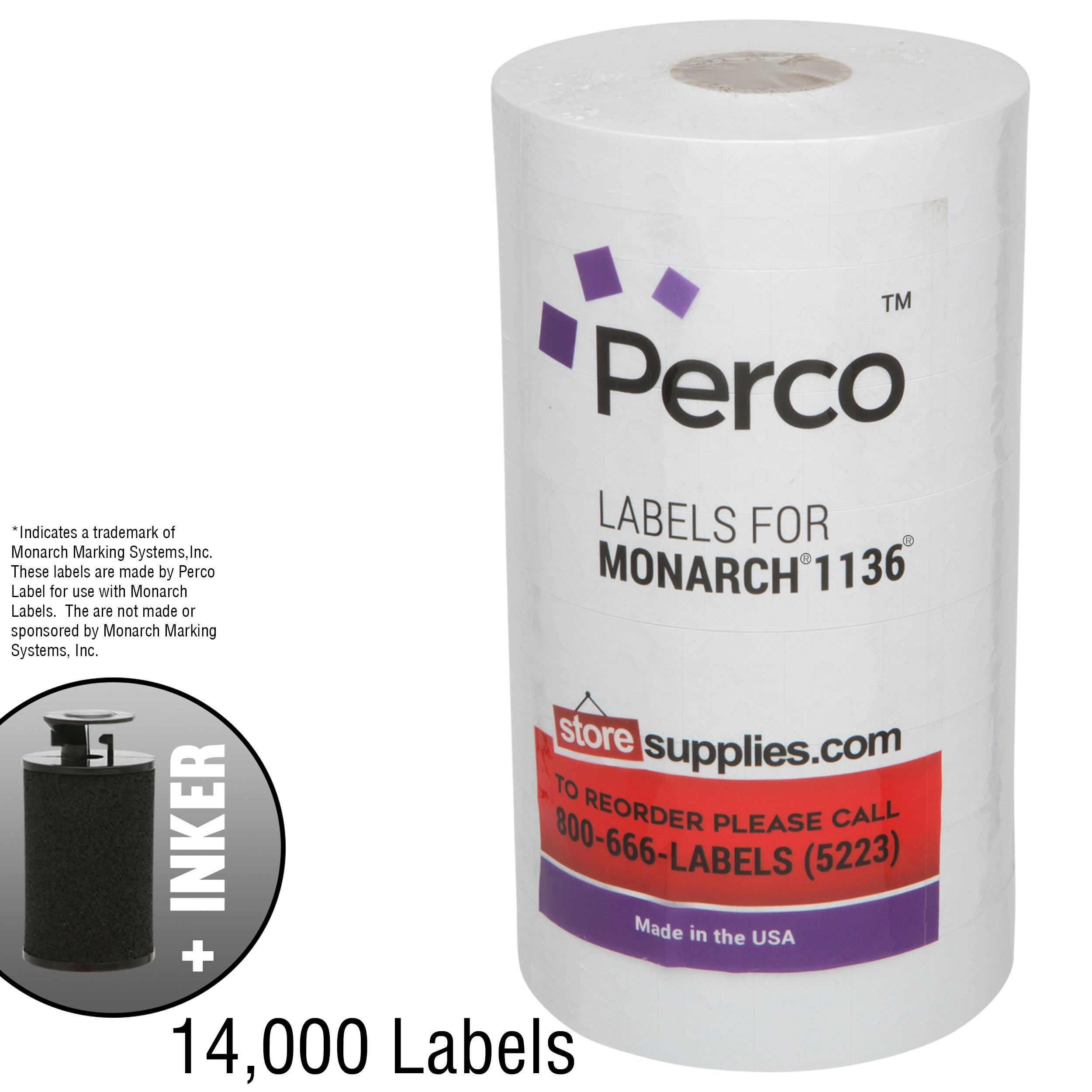 White Pricing Labels for Monarch 1136 Price Gun - 8 Rolls, 14,000 Pricemarking Labels - with Bonus Ink Roll Included by Perco