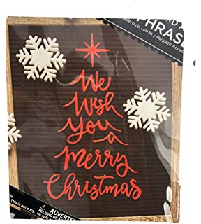 Merry Christmas Themed Letter Board Changeable Letters Accessory Pack Phrase 7 Piece Set Red