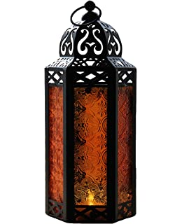 Homezone/® Large Eastern Style Verona Shabby Chic Metal Hurricane LED Candle Lantern Hanging Metal Candle Holder Patio Storm Vase Table Lantern Indoor Outdoor Battery Operated