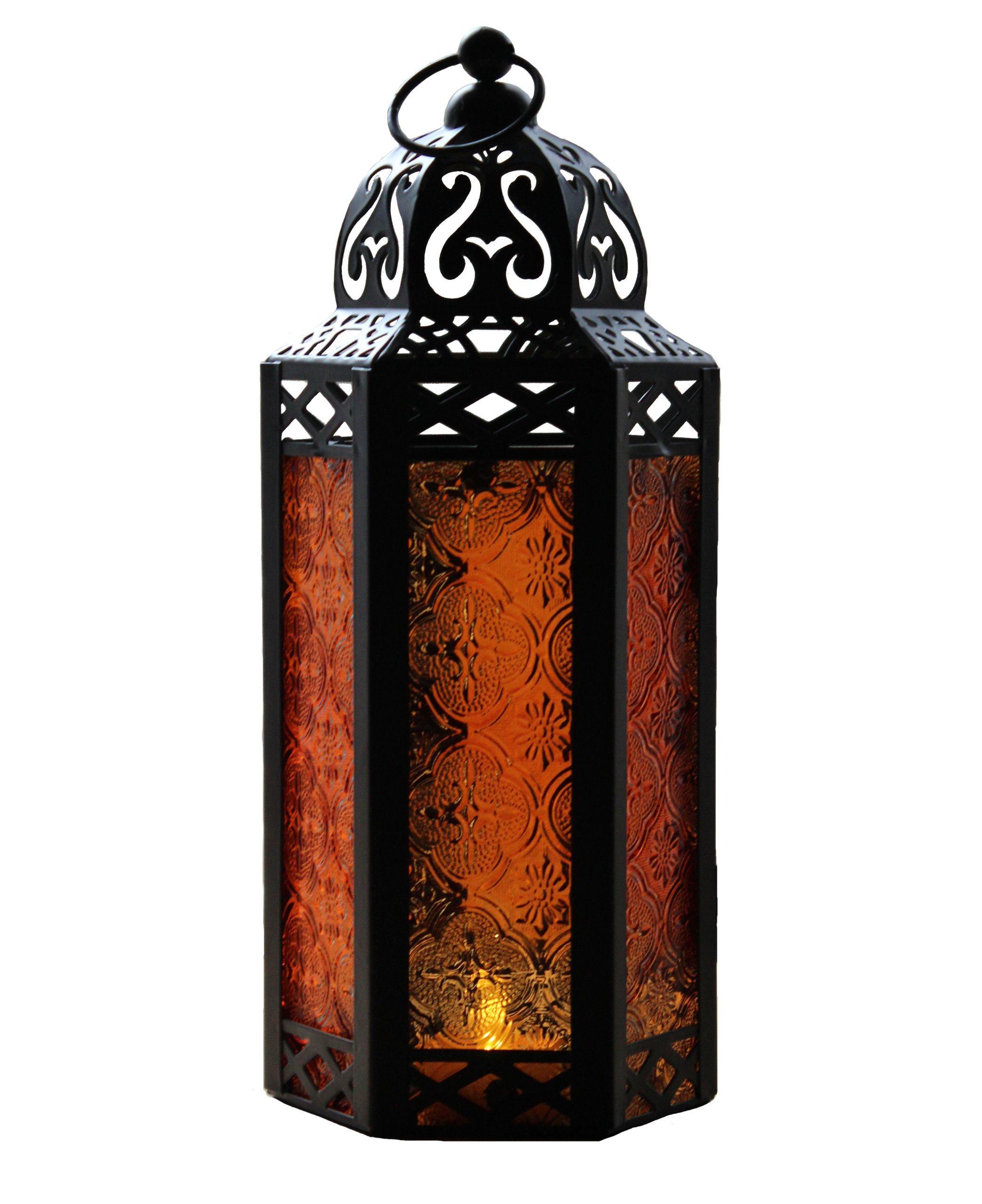 Amber Glass Moroccan Style Candle Lantern - Great for Patio, Indoors/Outdoors, Events, Parties and Weddings by Vela Lanterns