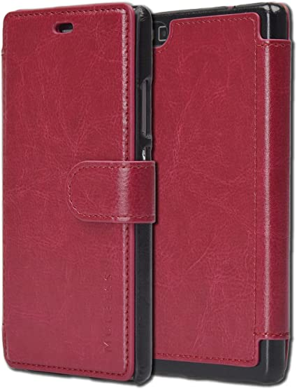 Custodia Huawei P8 - Cover Huawei P8 - Mulbess Custodia In Pelle Con Flip Cover Per Huawei P8 Custodia Pelle Vino Rosso