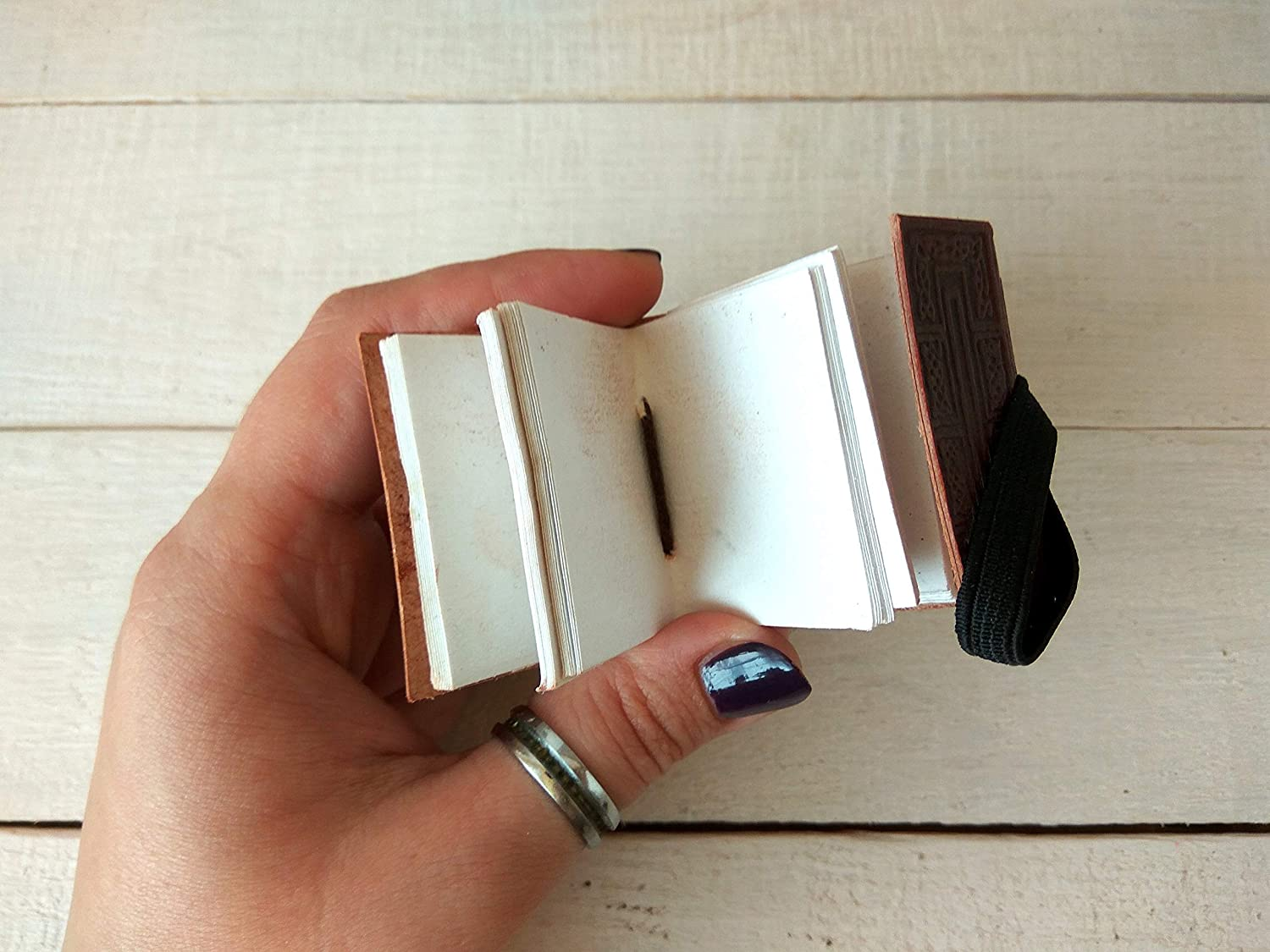 notebook necklace library shadows tree cross Dollhouse book miniature genuine leather journal keychain