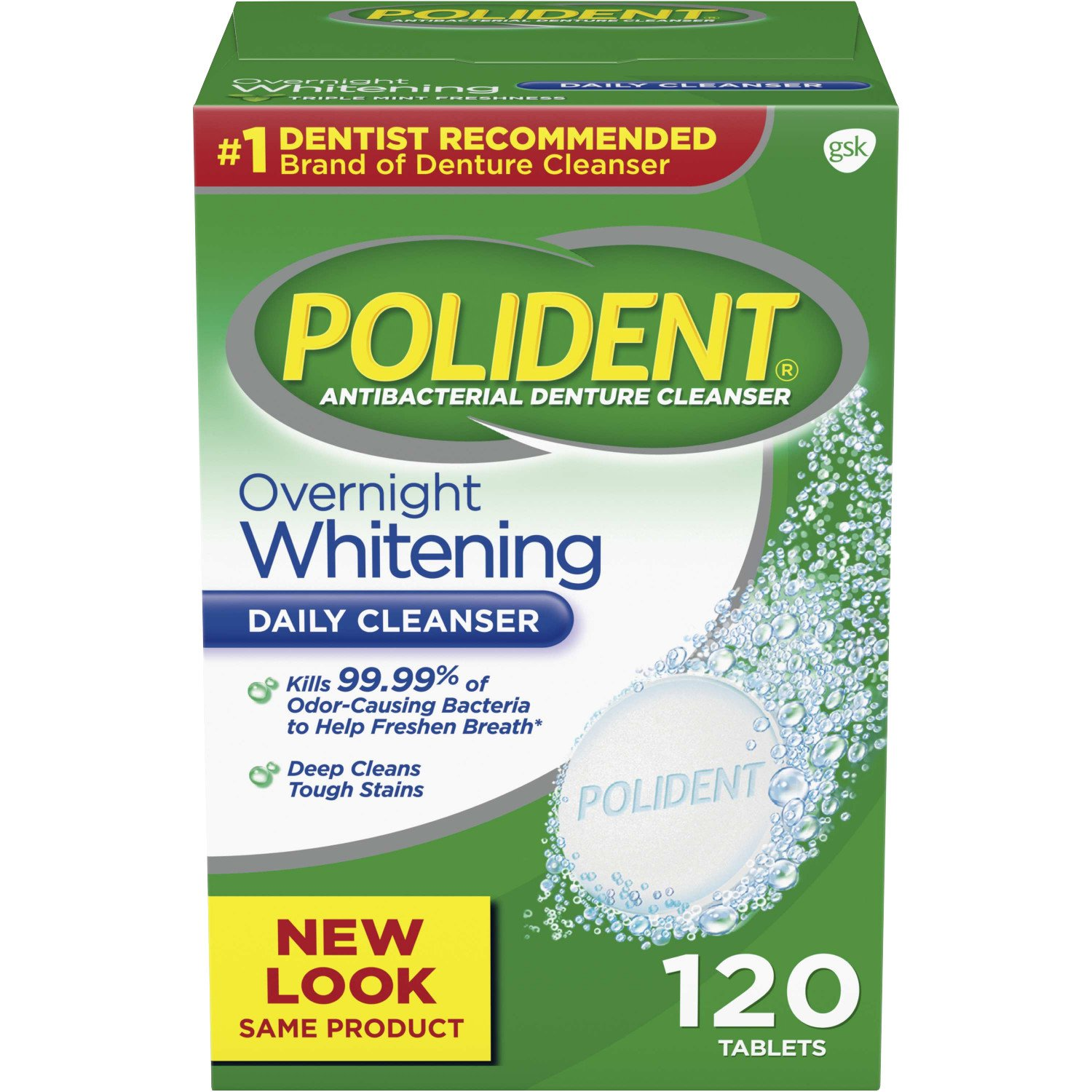 Polident Overnight Whitening Antibacterial Denture Cleanser Effervescent Tablets, 120 count: Health & Personal Care