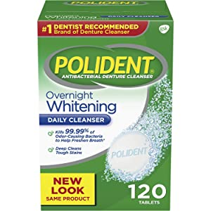 Polident Overnight Whitening Antibacterial Denture Cleanser Effervescent Tablets, 120 count