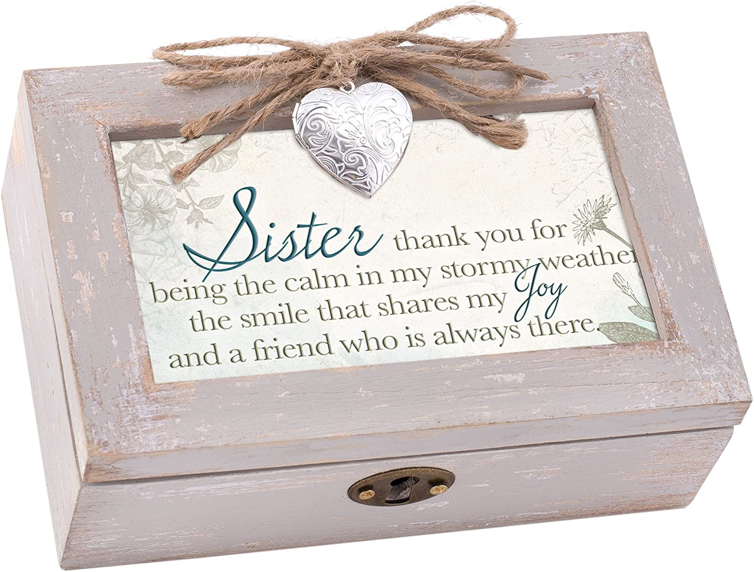 Cottage Garden Sister The Calm in My Stormy Weather Natural Taupe Jewelry Music Box Plays You Light Up My Life