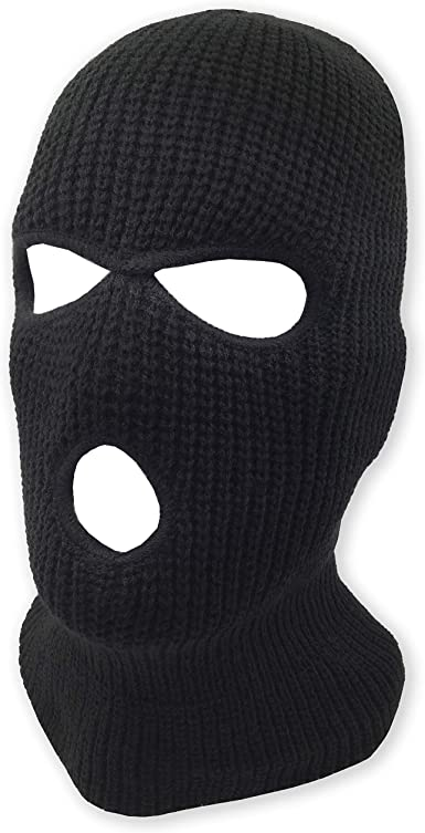 EXTRA THICK AND WARM BLACK KNIT SKI FACE MASK