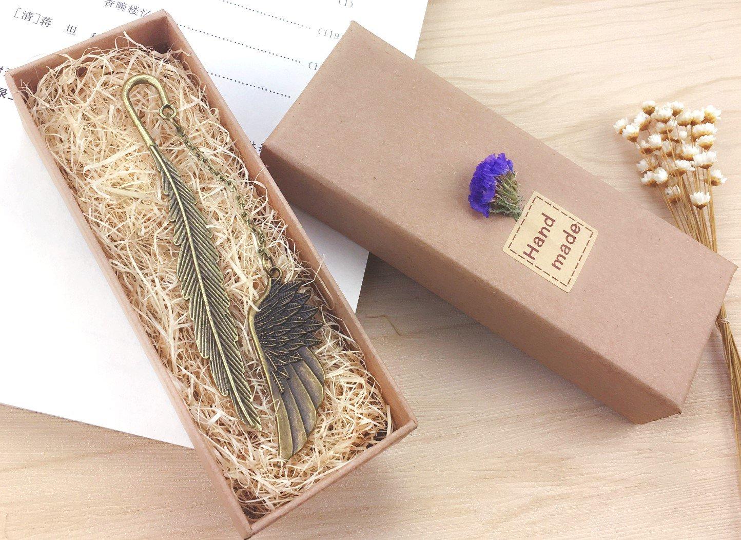 eMosQ Lesezeichen im Feder-Design, handgefertigt, klassisches Design, Metall / Messing, in wunderschöner Geschenkverpackung wing-antique bronze